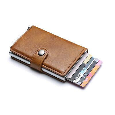 HOT PU Leather Credit Card Holder RFID Blocking Pop-up Wallet Money Clip Purse