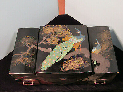 Vintage Oriental Musical Jewelry Box Lockable Hand painted with Peacocks