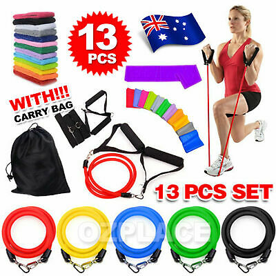 New 13 PCS Resistance Bands Workout Exercise Yoga Set Crossfit Fitness Tubes AU