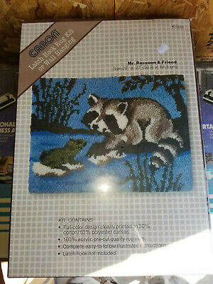 MR. RACCOON AND FRIENDS CARON Latch Hook Rug Kit Mostly. NIP. K3348
