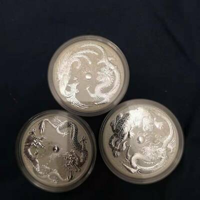 LOT OF 3-2017 2018 2019 1oz SILVER DRAGON-PHOENIX & DRAGON-TIGER & DOUBLE DRAGON