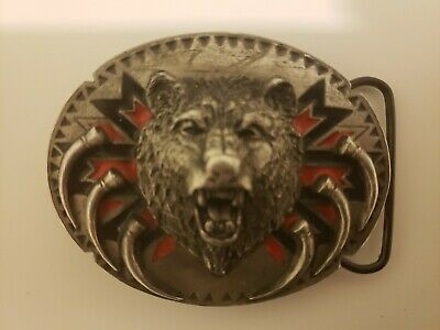 Vintage 1991 Siskiyou Buckle Co Bear & Claws Belt Buckle 3 X 2-1/2