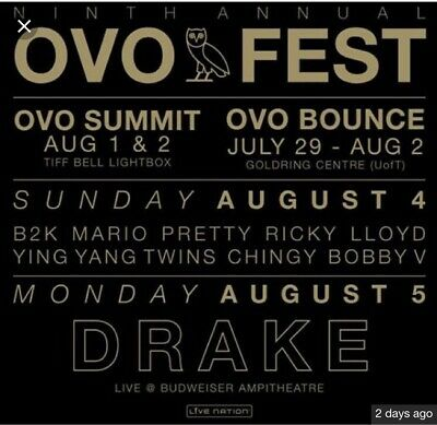 2 OVO Fest Tickets Day 2 August 5th