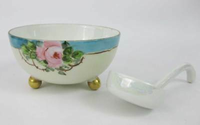 Vintage Japanese Hand Painted Bowl W/Spoon Numbered 92/225 3 Footed