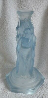 Vintage Light Blue Glass Candlestick With Three Art Deco ? Ladies