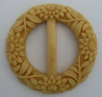 Antique vintage Carved Bakelite womens BELT BUCKLE flowers, leaves