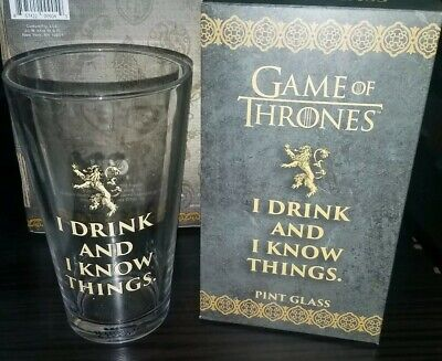 """HBO Game of Thrones Tyrion Lannister """"I DRINK AND I KNOW THINGS"""" Glass Pint 15oz"""