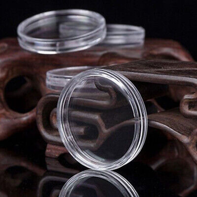 19mm Clear Round Plastic Coin Holder Capsule Container Storage Case 100 Pieces