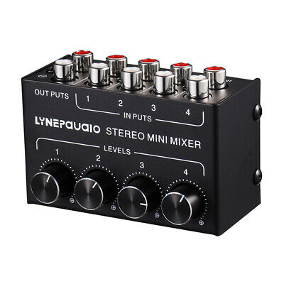 Mini Stereo 4 channel Passive Mixer  RCA Lossless Audio for Live&Studio 4in 1out