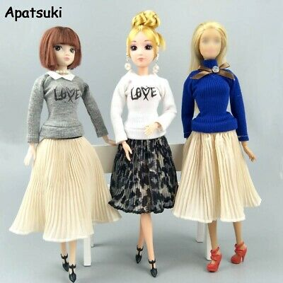 Fashion Doll Clothes For Barbie Dolls Outfits Blouses Chiffon Pleated Midi Skirt