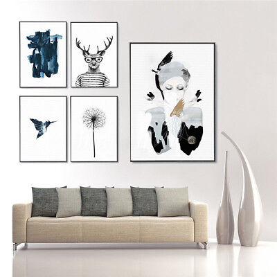 Nordic Green Plant Leaf Canvas Art Poster Print Wall Picture Home Decor no