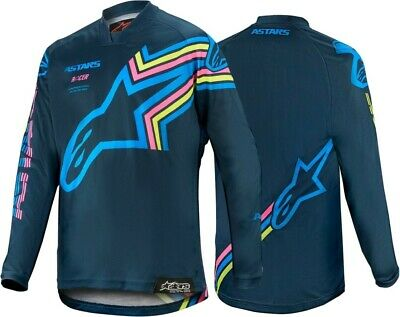 2020 Alpinestars Racer BRAAP Navy Aqua Flo Pink Kids Youth Motocross MX Jersey
