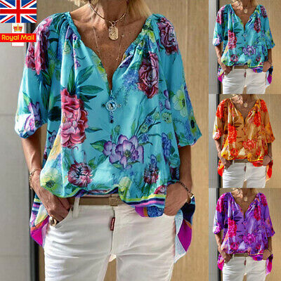 Women V Neck Summer Floral Tops Casual Loose Tunic Baggy Holiday T Shirt Blouse
