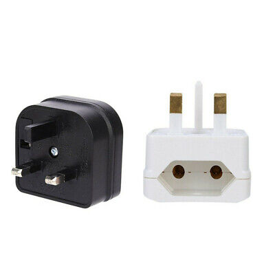European 2 Pin to UK 3 Pin Plug Adaptor Euro EU Converter Mains Travel Adapter