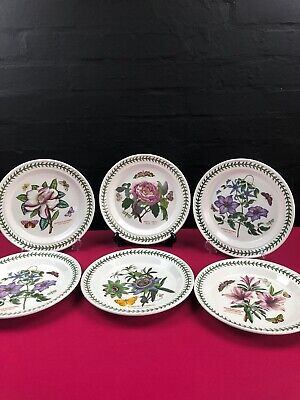 "6 x Portmeirion Botanic Garden Dinner Plates 10.5"" Assorted Set"