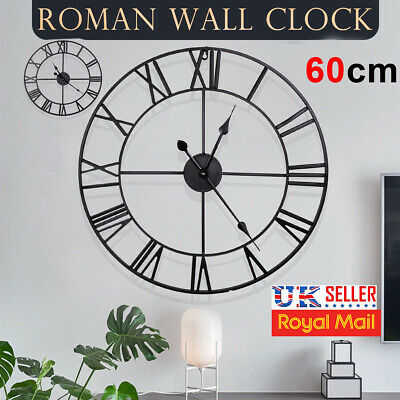 60Cm Extra Large Roman Numerals Wall Clock Skeleton Big Giant Open Face Round Uk