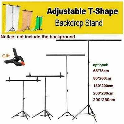 T Stand Adjustable Support System & Clamps for Background Backdrop Photo Studio