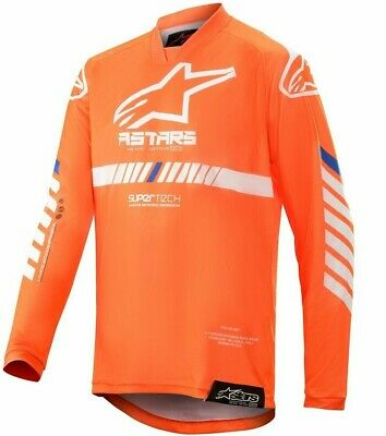 2020 Alpinestars Racer TECH Flo Orange White Blue Kids Youth Motocross MX Jersey