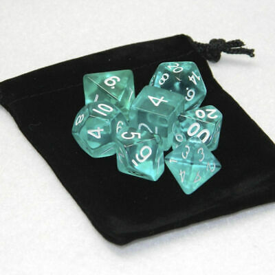 Lots 7 Piece Polyhedral Translucent Set Cloud Drop Teal DnD RPG With Dice Bag