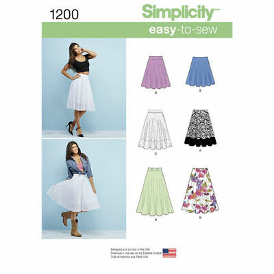 Simplicity Sewing Pattern 1200 Misses 14-22 Easy 3/4 Circle Skirt Length Options