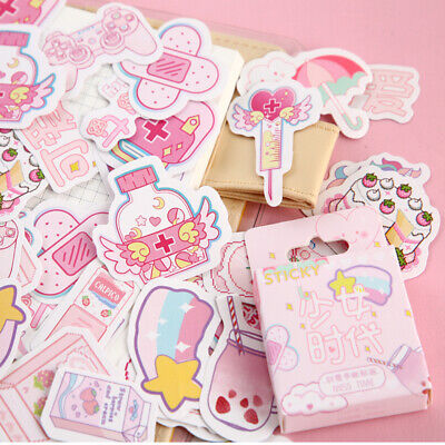 46PCS Cute Stickers Kawaii Stationery DIY Scrapbooking Diary Label Stickers