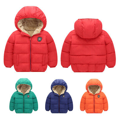 Toddler Kids Baby Boy Girl Winter Warm Hooded Coat Thick Jacket Outwear Clothes