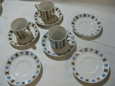 3 x Vintage Retro Midwinter Staffordshire Pottery Coffee Cups & 6 Saucers #PO424