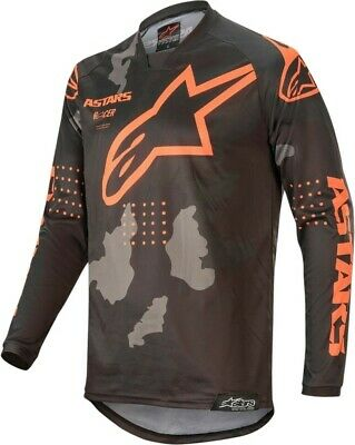 2020 Alpinestars Racer TACTICAL Black Grey Camo Orange Motocross Jersey Adult