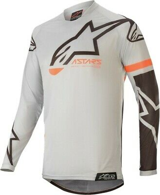 2020 Alpinestars RACER TECH Light Grey Black Motocross MX Race Jersey Adult