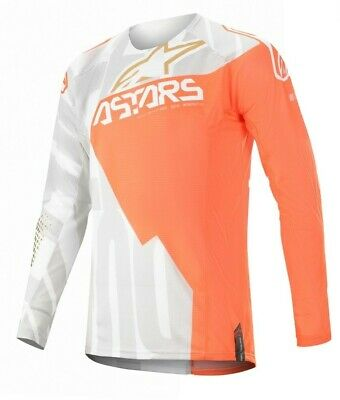 2020 Alpinestars Techstar Factory Metal White Flo Orange Motocross MX Jersey