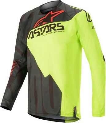 2020 Alpinestars Techstar Factory Black Flo Yellow Motocross MX Jersey