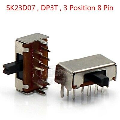 Slide Switch DP3T 2P3T ON-ON-ON 3 Position 8 Pin PCB Panel Microswitch Switch