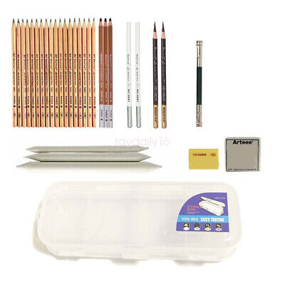 Professional Sketch Pencil Set Box Charcoal Carbonized Eraser Art Painting Kit