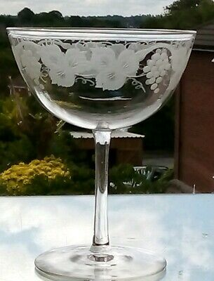 Fabulous Set Of 6 Victorian Engraved Crystal Champagne Glasses /Coupes