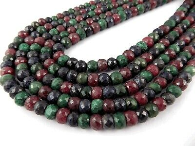 "1 Strand Natural Dyed Ruby,Emerald Blue Multi Sapphire 7-8mm Faceted 13"" L Beads"