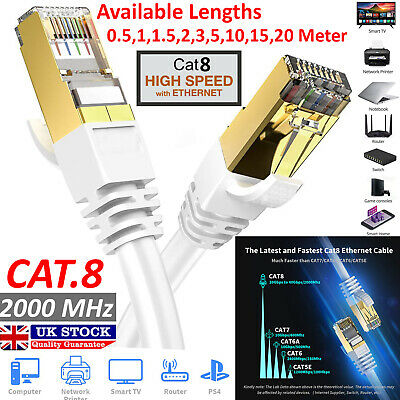 RJ45 CAT8 Ethernet Network SSTP 40 Gbps Patch Lead Flat Cable Cat7 1m to 20m Lot