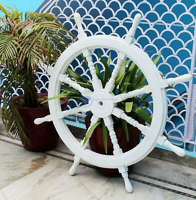 White Washed Ship Wood Ship's Wheels/Wood Ship Steering Nautical Handmade Gift