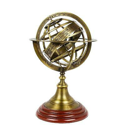 Antique Vintage Zodiac Armillary Brass Sphere Globe Wooden Display | Pirate's A