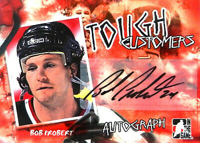 05-06 itg game tough customers bob probert detroit red wings autograph auto