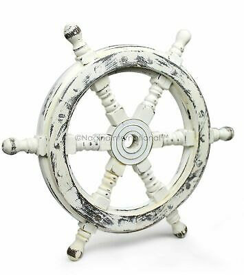 "18"" Antique White Nautical Handcrafted Wooden Ship Wheel - Home Wall Decor gift"