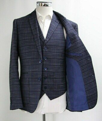 Men's Unbranded Navy Blue Checked Blazer & Waistcoat Set (40R).. Sample 5445