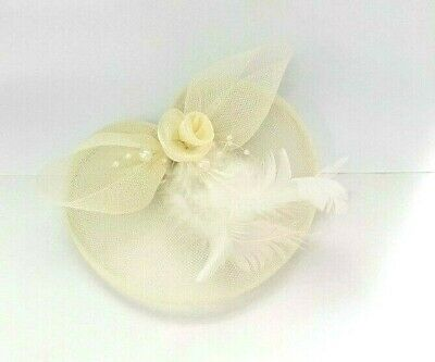 Cream Feather Beak Clip Brooch Pin Fascinator Ladies Day Royal Ascot Weddings