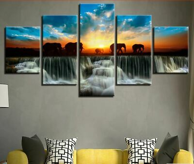 Elephant Sunset Waterfall 5 Pieces canvas Wall Art Print Picture Home Decor