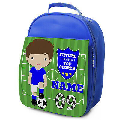 Personalised FOOTBALL Lunch Bag Boys Children School Nursery Box - ANY TEAM KF06