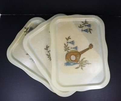 Set of 3 Vintage MCM Mid Century Modern Fiberglass Serving Trays