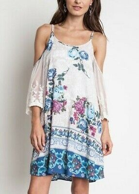 Umgee Dress Size S M L Floral Print Boho Boutique Embroidered Lace Sleeve Tunic