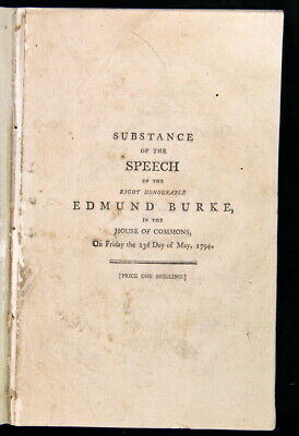 Edmund Burke Substance of the Speech ... Hastings Trial 1794 2nd Edition FPOBO
