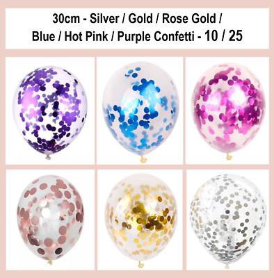 Confetti Balloons Clear 30cm Latex Balloon 10/25 Gold Silver Rose Gold Party