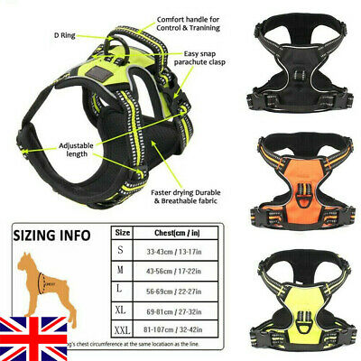 3M Reflective Padded Dog Harness No-pull Pet Vest Handle Outdoor Adventure