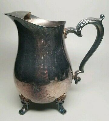 Vintage Oneida USA Silverplate COUNTESS 64oz Footed Water Pitcher Jug w/ Ice Lip